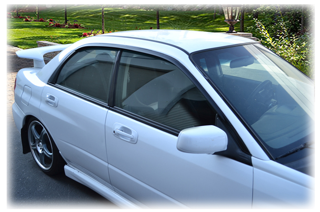 Set of 2 Tape-On Outside-Mount Window Visor Rain Guards  in Japanese OEM Style  to fit Sedan Models only of  2002-2007 Subaru Impreza and Impreza WRX