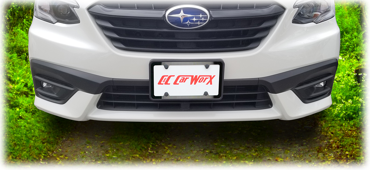 The Front License Bracket to fit the 2020 and 2021 Subaru Legacy Sedan is shown with the classy black stainless steel frame which is available in a discounted bundle by C&C CarWorx