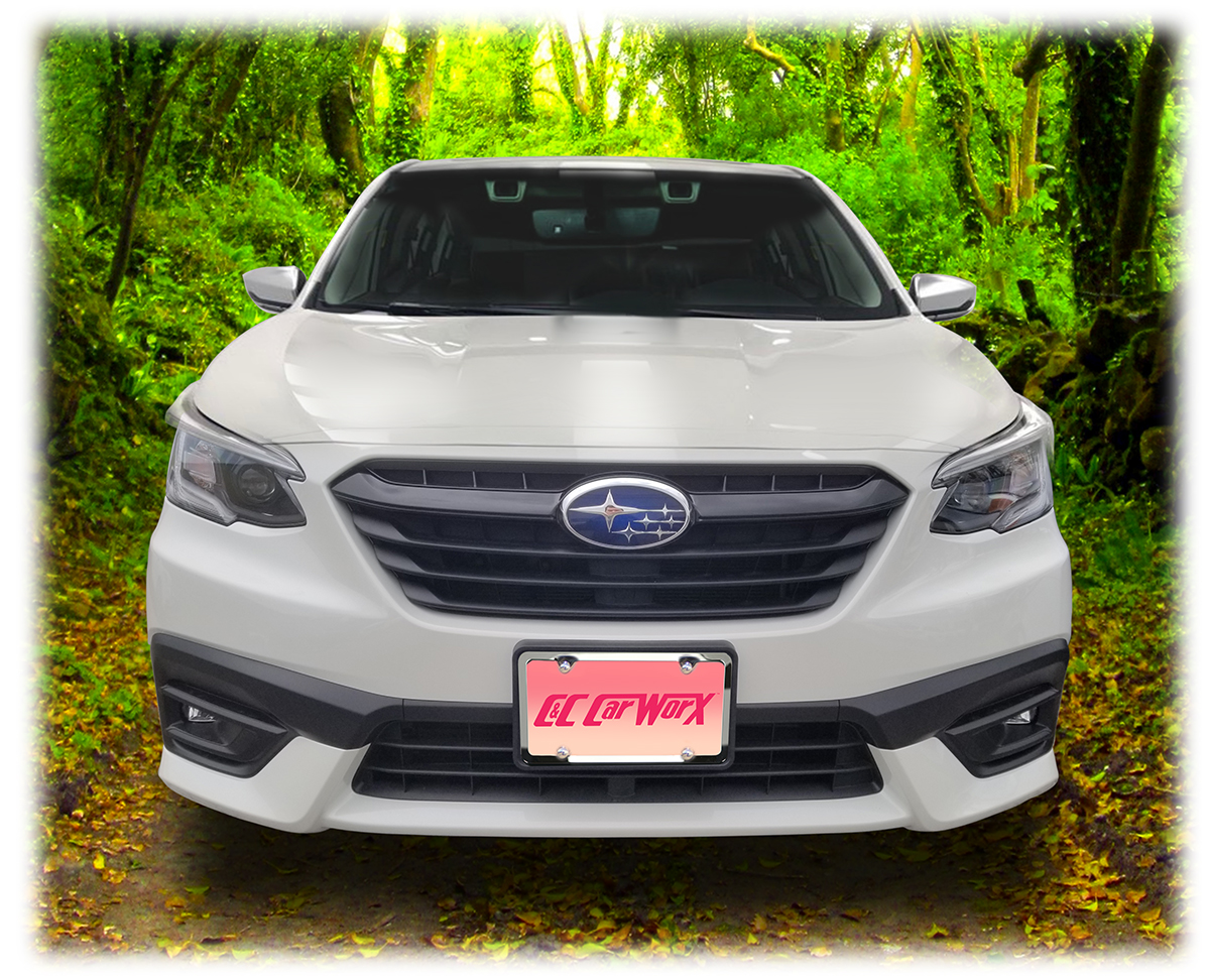C&C CarWorx custom manufactures high quality aftermarket accessories to enhance your model of Subaru or Toyota, like this handsome front license bracket to fit the bumper of the 2020 and 2021 Subaru Legacy Sedan perfectly.