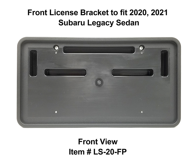 Front View of Front License Bracket LS-20-FP to fit 2020 and 2021 Subaru Legacy Sedan custom designed and manufactured by C&C CarWorx