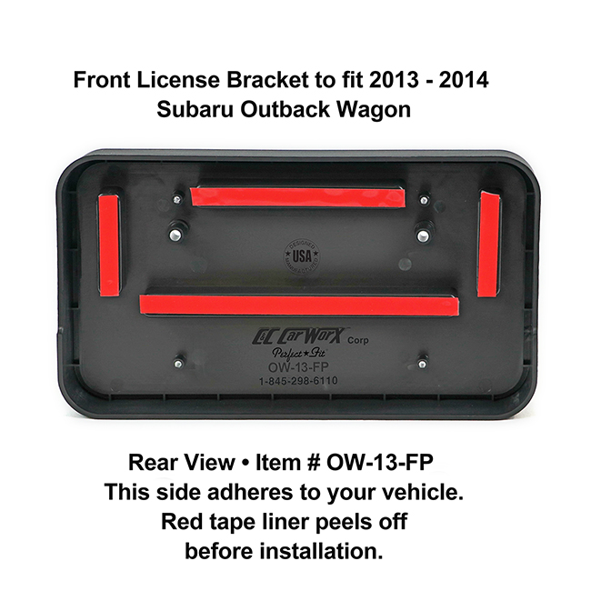 Rear View showing red tape liner which peels off before installation: Front License Bracket OW-13-FP to fit 2013-2014 Subaru Outback custom designed and manufactured by C&C CarWorx