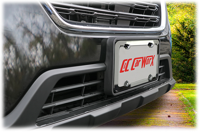 The C&C CarWorx Front License Bracket and Silver Stainless Steel License Plate Frame shown on a 2018 Subaru Outback gives a stylish flair to the vehicle's front end.