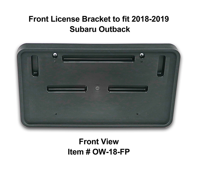 Front View of Front License Bracket OW-18-FP to fit 2018-2019 Subaru Outback custom designed and manufactured by C&C CarWorx