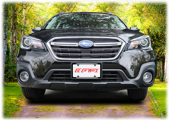 Enhancing your front end with a classy installation of powder-coated black stainless steel license plate frame within our sturdy front license bracket, these custom-manufactured, versatile aftermarket accessories shown on a 2018 Subaru Outback Wagon by C&C CarWorx are a great long-term investment in quailty.