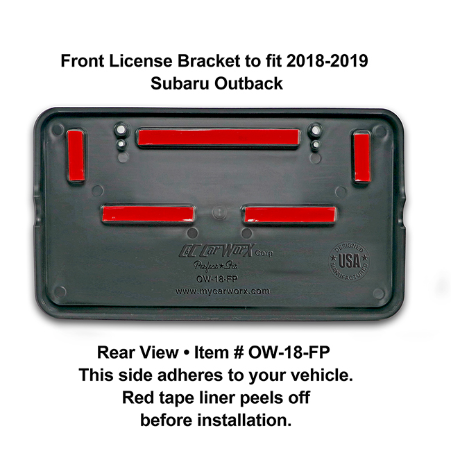 Rear View showing red tape liner which peels off before installation: Front License Bracket OW-18-FP to fit 2018-2019 Subaru Outback custom designed and manufactured by C&C CarWorx
