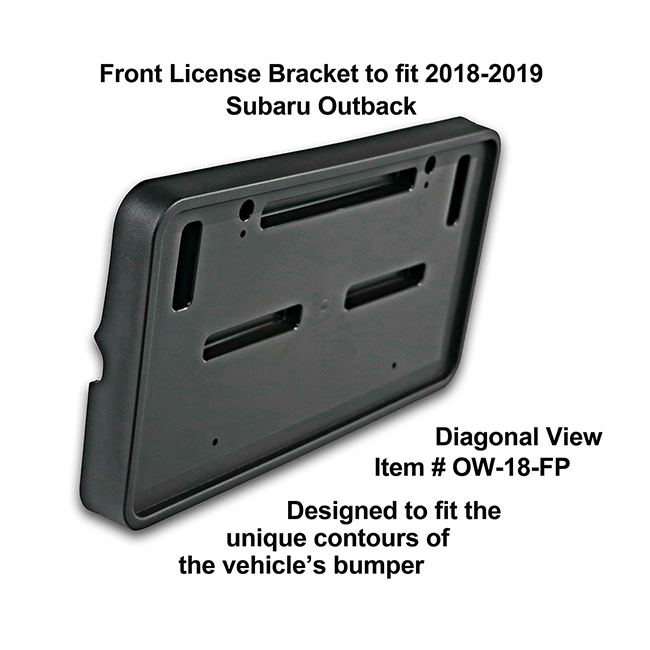 Diagonal View showing unique contours to fit snugly around your vehicle's bumper: Front License Bracket OW-18-FP to fit 2018-2019 Subaru Outback custom designed and manufactured by C&C CarWorx