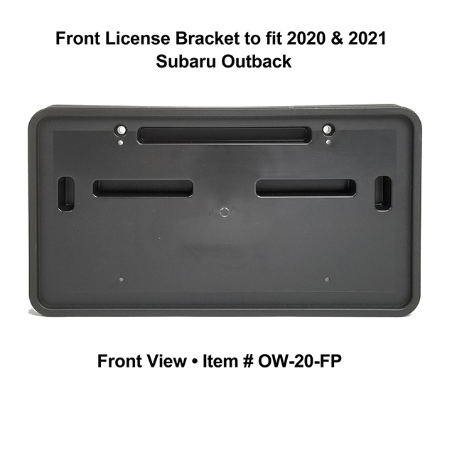 Front View of Front License Bracket OW-20-FP to fit 2020 and 2021 Subaru Outback custom designed and manufactured by C&C CarWorx