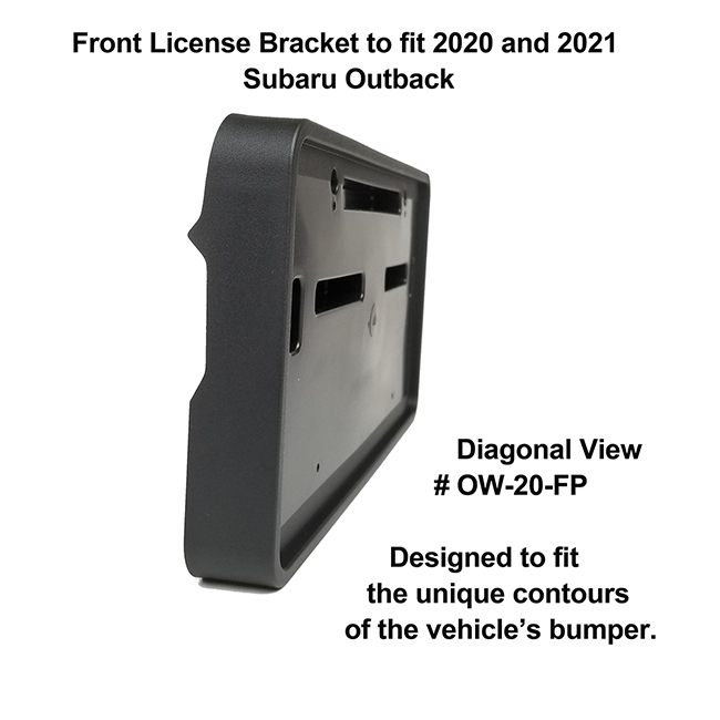 Diagonal View showing unique contours to fit snugly around your vehicle's bumper: Front License Bracket OW-20-FP to fit 2020 and 2021 Subaru Outback custom designed and manufactured by C&C CarWorx