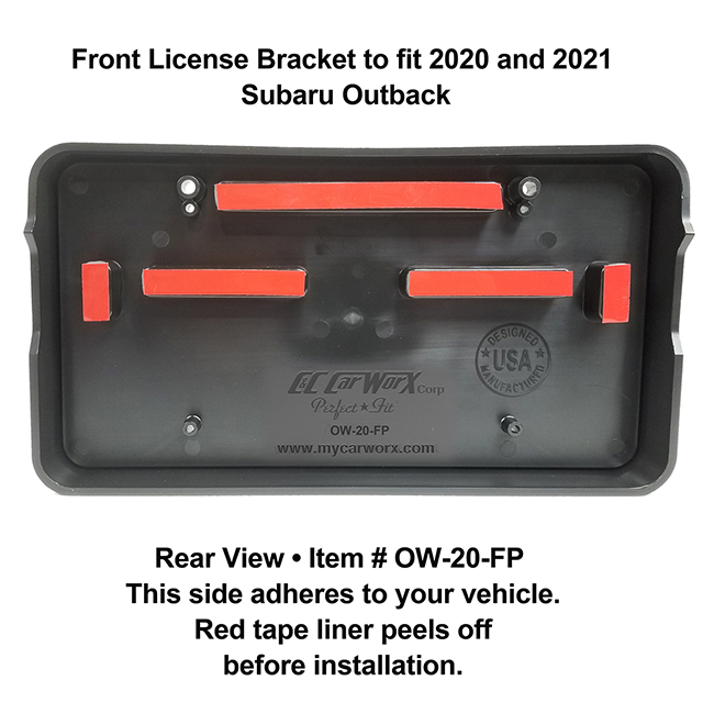 Rear View showing red tape liner which peels off before installation: Front License Bracket OW-20-FP to fit 2020 and 2021 Subaru Outback custom designed and manufactured by C&C CarWorx