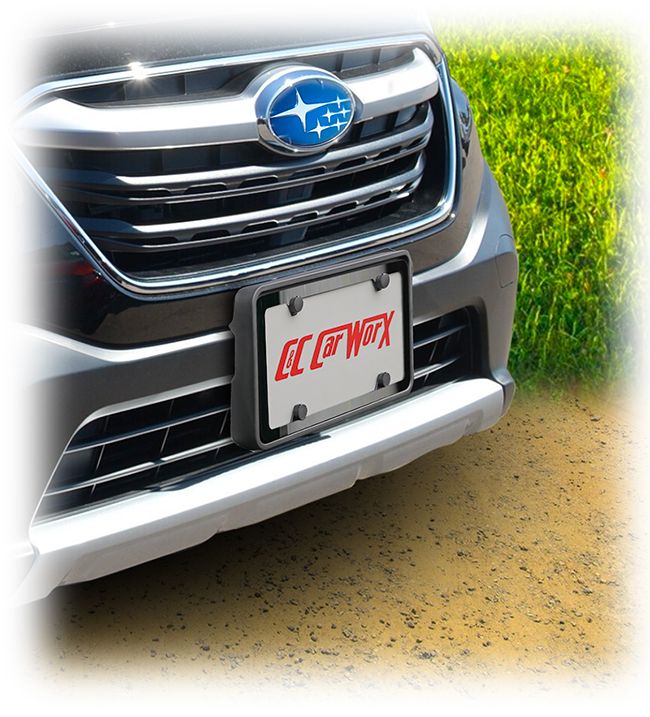 The C&C CarWorx front license bracket is shown above on a 2020 Outback with a black stainless frame around the license available as part of a bundle