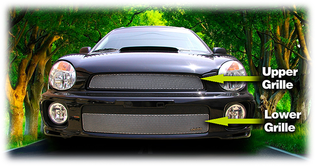 C&C CarWorx offers this aftermarket Upper & Lower Grille for 2002-2003 Subaru Impreza WRX available in silver and black by Grillcraft.