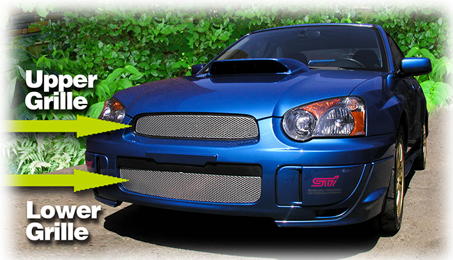 C&C CarWorx offers this aftermarket Upper and Lower Grille Insert Set for 2004-2005 Subaru Impreza WRX and STI available in silver and black by Grillcraft.