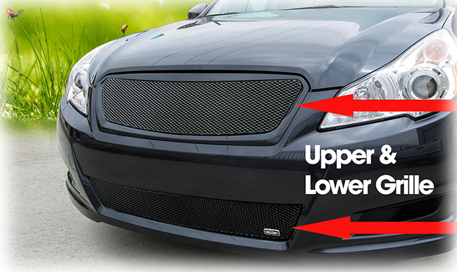 C&C CarWorx offers this aftermarket set of Upper and Lower Grille Inserts for 2010-2012 Subaru Legacy 4-Door Sedan available in silver and black by Grillcraft.
