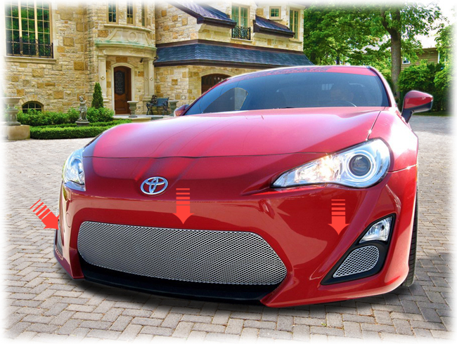 C&C CarWorx offers this aftermarket 3-Grille Set to fit 2013-16 Toyota Scion FR-S available in silver and black by Grillcraft.