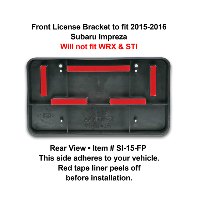 Rear View showing red tape liner which peels off before installation: Front License Bracket SI-15-FP to fit 2015-16 Subaru Impreza (excluding WRX and STI models)