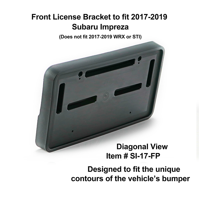 Diagonal View showing unique contours to fit snugly around your vehicle's bumper: Front License Bracket SI-17-FP to fit 2017-2018 Subaru Impreza (excluding WRX & STI models) custom designed and manufactured by C&C CarWorx