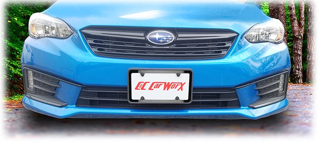 C&C CarWorx designs brackets for your front and rear license plates to fit precisely within the contours of your model's design features.