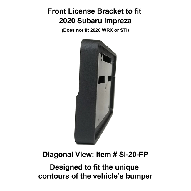 Diagonal View showing unique contours to fit snugly around your vehicle's bumper: Front License Bracket SI-20-FP to fit 2017-2018 Subaru Impreza (excluding WRX & STI models) custom designed and manufactured by C&C CarWorx