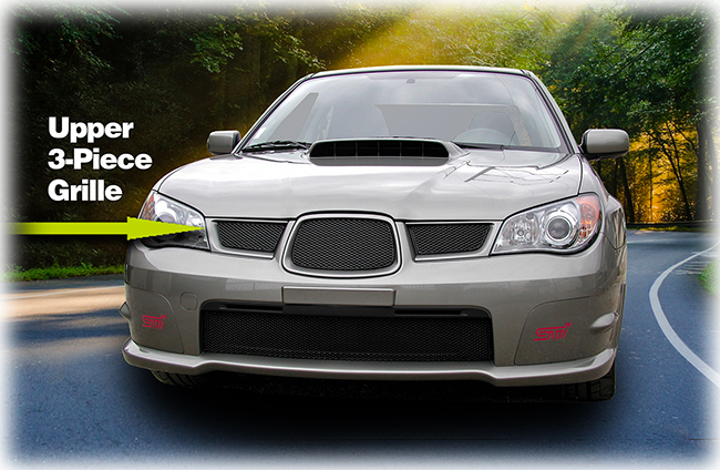 C&C CarWorx offers this aftermarket Upper 3-Piece Grille for 2006-2007 Subaru Impreza WRX available in silver and black by Grillcraft.