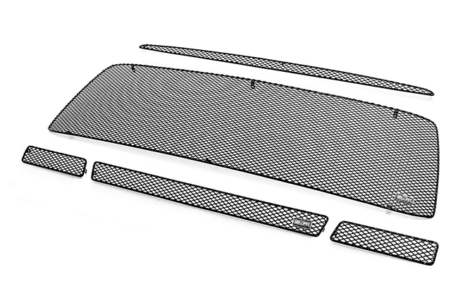 C&C CarWorx offers this aftermarket 5-Piece Upper and Lower Grille Insert Kit for 2010-2013 Toyota Tundra models in black by Grillcraft.