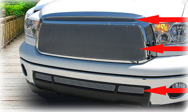 C&C CarWorx offers this aftermarket 5-Piece Upper and Lower Grille Insert Kit for 2010-2013 Toyota Tundra models in silver by Grillcraft.