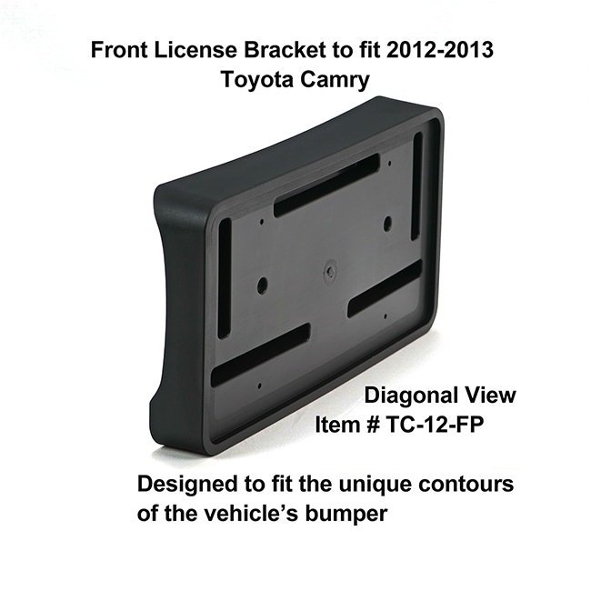 Diagonal View showing unique contours to fit snugly around your vehicle's bumper: Front License Bracket TC-12-FP to fit 2012-2013 Toyota Camry