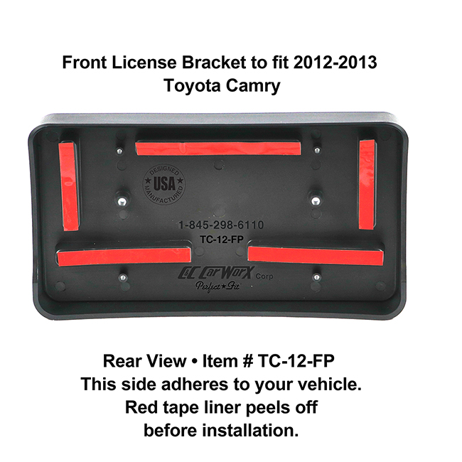 Rear View showing red tape liner which peels off before installation: Front License Bracket TC-12-FP to fit 2012-2013 Toyota Camry