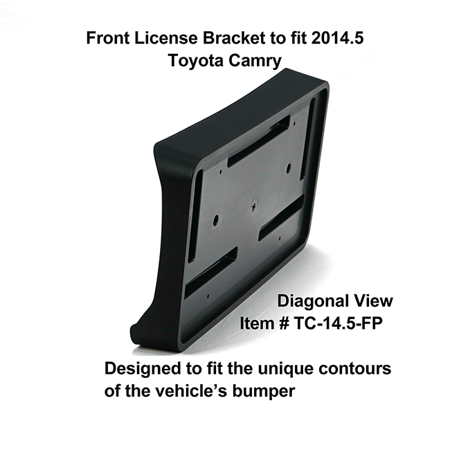 Diagonal View showing unique contours to fit snugly around your vehicle's bumper: Front License Bracket TC-14.5-FP to fit 2014.5 Toyota Camry