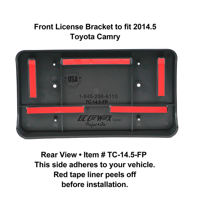 Rear View showing red tape liner which peels off before installation: Front License Bracket TC-14.5-FP to fit 2014.5 Toyota Camry