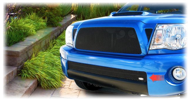 C&C CarWorx offers this aftermarket Lower Insert Grille for 2005-2011 Toyota Tacoma models in black by Grillcraft.
