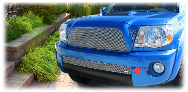 C&C CarWorx offers this aftermarket Lower Insert Grille for 2005-2011 Toyota Tacoma models in silver by Grillcraft.