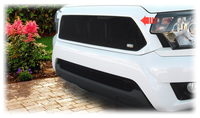 C&C CarWorx offers this aftermarket Upper Insert Grille for 2012-2015 Toyota Tacoma models in black by Grillcraft.