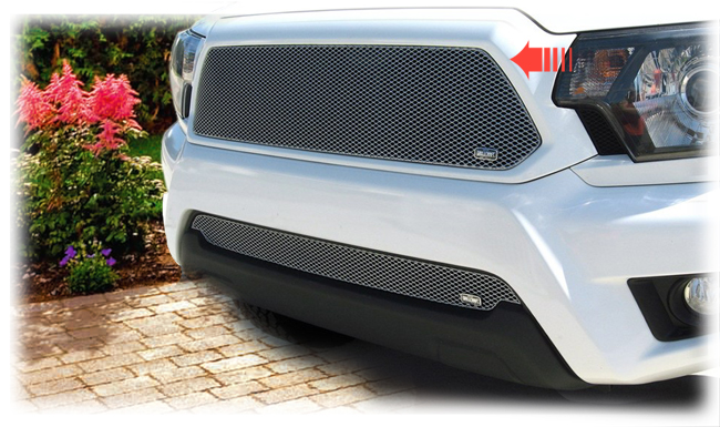 C&C CarWorx offers this aftermarket Upper Insert Grille for 2012-2015 Toyota Tacoma models in silver by Grillcraft.