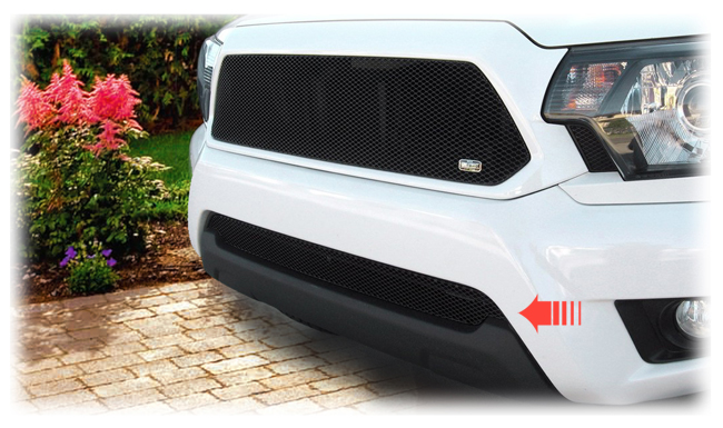 C&C CarWorx offers this aftermarket Lower Insert Grille for 2012-2015 Toyota Tacoma models in black by Grillcraft.