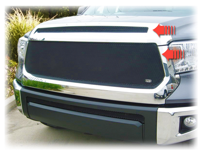 C&C CarWorx offers this aftermarket Set of 2 Upper Grille Inserts for 2014-2019 Toyota Tundra models in black by Grillcraft.