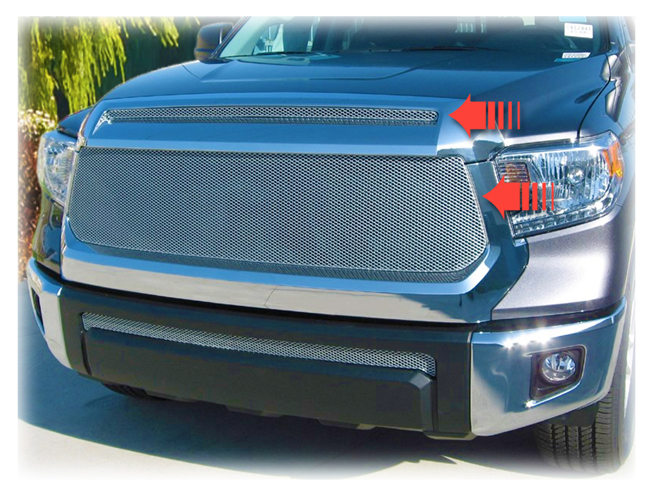 C&C CarWorx offers this aftermarket Set of 2 Upper Grille Inserts for 2014-2019 Toyota Tundra models in silver by Grillcraft.