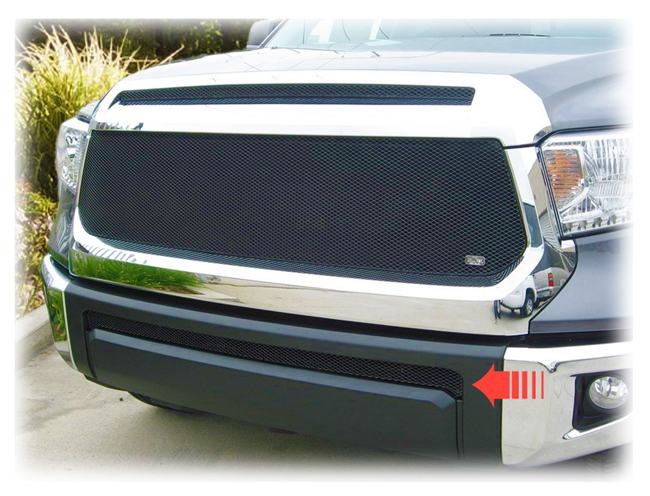 C&C CarWorx offers this aftermarket Lower Grille Insert for 2014-2019 Toyota Tundra models in black by Grillcraft.