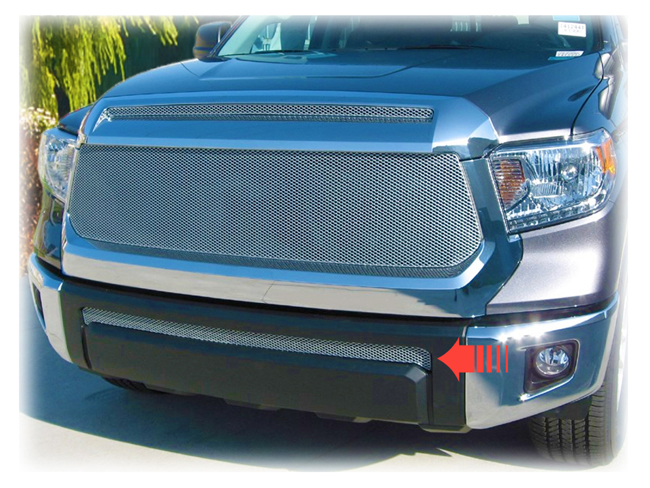 C&C CarWorx offers this aftermarket Lower Grille Insert for 2014-2019 Toyota Tundra models in silver by Grillcraft.