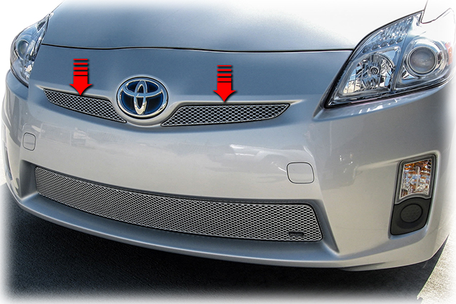 C&C CarWorx offers this set of aftermarket Upper 2-piece Grille Inserts for 2010-2011 Toyota Prius models in silver by Grillcraft.