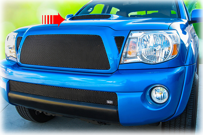 C&C CarWorx offers this aftermarket Hood Scoop Grille for 2005-2011 Toyota Tacoma models in black by Grillcraft.