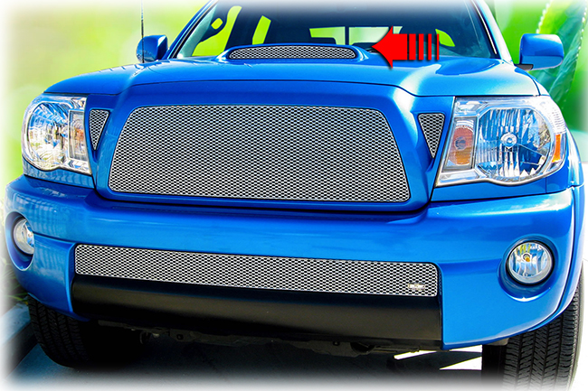C&C CarWorx offers this aftermarket Hood Scoop Grille for 2005-2011 Toyota Tacoma models in silver by Grillcraft.