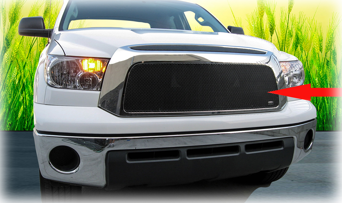 C&C CarWorx offers this aftermarket Upper Grille Insert for 2007-2009 Toyota Tundra models in black by Grillcraft.