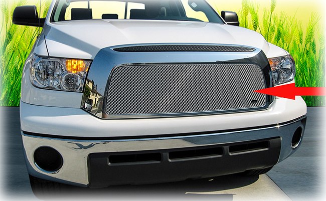 C&C CarWorx offers this aftermarket Upper Grille Insert for 2007-2009 Toyota Tundra models in silver by Grillcraft.
