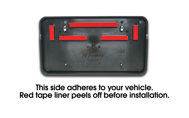 Shown is the back of the part which adheres to your vehicle. Red tape liner peels off before installation. Detailed instructions are available.