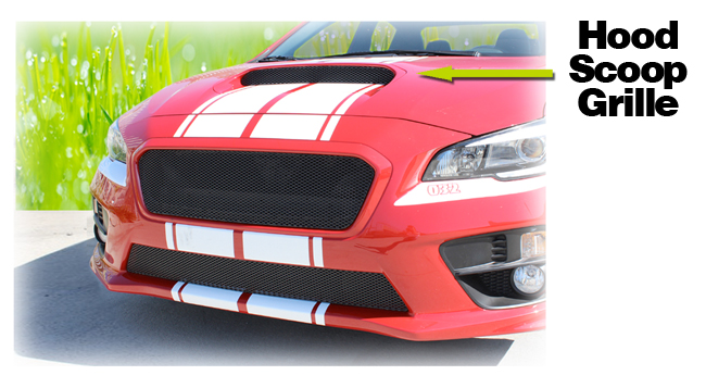C&C CarWorx offers this aftermarket Hood Scoop Grille for 2015-2019 Subaru WRX & STI available in silver and black by Grillcraft.