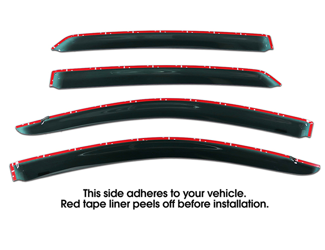 Shown with tape liner which peels off before installation: Set of Four WV-05A-TF Tape-On Outside-Mount Window Visor Rain Guards to fit 2005-2012 Toyota Avalon