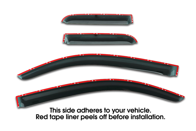 Shown with tape liner which peels off before installation: Set of Four WV-07TUD-TF Tape-On Outside-Mount Window Visor Rain Guards to fit 2007-16 Toyota® Tundra® Double Cab