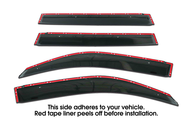 Shown with tape liner which peels off before installation: Set of four WV-08LC-TF Tape-On Outside-Mount Window Visor Rain Guards to fit 2008-2016 Toyota Land Cruiser 200 Series (OEM-type) with clip