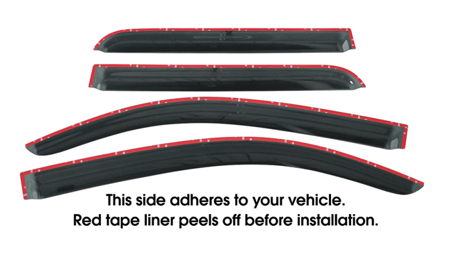Shown with tape liner which peels off before installation: Set of four WV-08S-TF Tape-On Outside-Mount Window Visor Rain Guards to fit 2008-2016 Toyota Sequoia