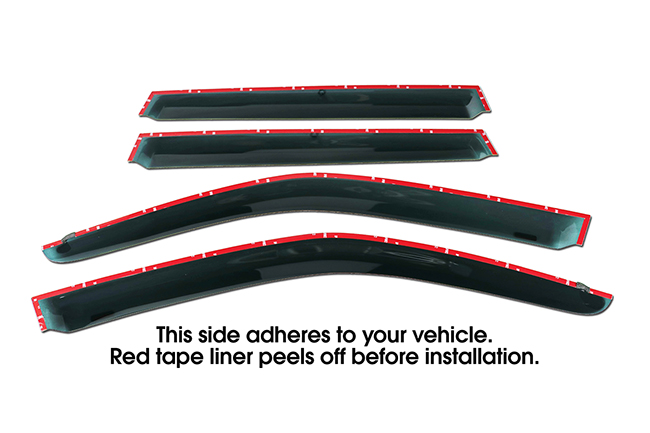 Shown with tape liner which peels off before installation: Set of Four WV-09F-TF Tape-On Outside-Mount Window Visor Rain Guards to fit 2009-2013 Subaru Forester